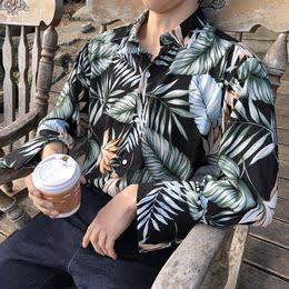 韩国夏季复古港风男生海滩长袖雪纺夏威夷ins衬衫男bf风花衬衣潮