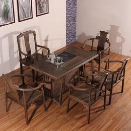 新中式茶桌椅组合非洲鸡翅木功夫茶桌小户型红木家具仿古实木茶几