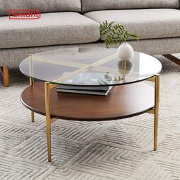 北欧现代简约客厅小户型双层隔板创意金色香槟金不锈钢圆形茶几