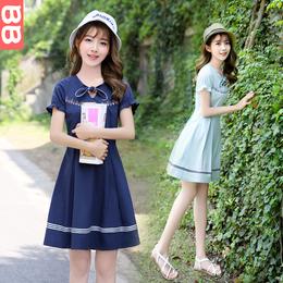 少女连衣裙夏季小清新2018韩版中长款学院风夏装高中初中学生裙子