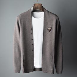 秋季新款针织开衫男毛衣薄款休闲纯色修身外套男青少年外穿线衣潮