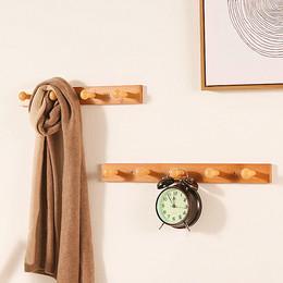挂钩衣帽钩实木免打孔门后玄关墙上卧室墙壁排钩衣服挂架挂衣架