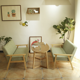 甜品奶茶店西餐咖啡厅洽谈桌椅组合简约休闲双人卡座办公室布沙发