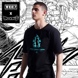 正版授权TEE7-七龙珠超级赛亚人蓝发孙悟空贝吉塔纯棉圆领T恤衣服