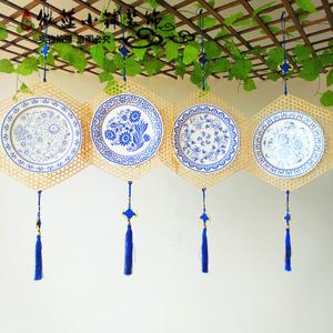 创意竹编吊饰青花瓷纸盘青花瓶子环创装饰材料幼儿园教室走廊挂饰