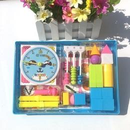 小学一年级 套装 数学课本同步小棒几何体时钟计数器教具学具盒