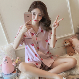 睡衣女夏季纯棉短袖加肥加大码胖mm200斤夏天宽松家居服两件套装