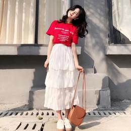 夏季俏皮套装裙女2018新款韩版时尚T恤蛋糕裙两件套装学生连衣裙