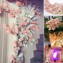 仿真樱花枝婚庆樱花树塑料绢花装饰桃花空调遮挡客厅落地假花藤条