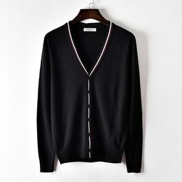 春季新款针织开衫男V领薄款镶边外套休闲宽松大码毛衣线衫潮
