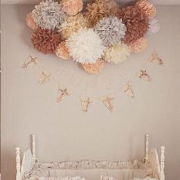 30cm纸花球拉花婚房婚礼学校布置手工DIY装饰品房顶卧室客厅装饰