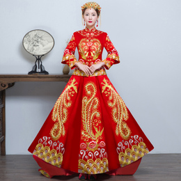 秀禾服新娘2018新款中式礼服夏季龙凤褂古装结婚嫁衣秀和服敬酒服