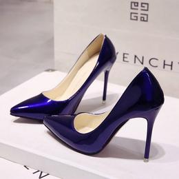 欧洲站裸色尖头高跟鞋细跟黑色工作单鞋女红色婚鞋漆皮蓝色大码鞋
