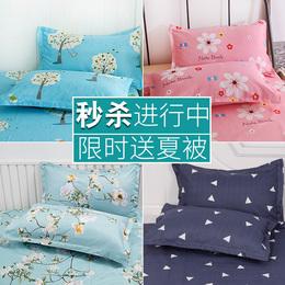 信封式学生枕套枕头套罩枕皮48X74cm枕芯套单人包邮成人一对装夏