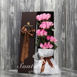Santa Rosa520表白生日用红粉紫香槟玫瑰礼盒沈阳同城鲜花速递