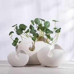 北欧简约家居装饰品 白色蛋壳大小陶瓷花瓶客厅餐桌创意插花摆件