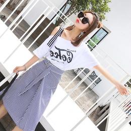 春装2018新款女时髦套装裙子港味夏季洋气两件套露肩短袖连衣裙潮
