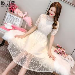 蕾丝连衣裙2018春夏新款女韩版修身显瘦中长款短袖冷淡风蓬蓬裙子