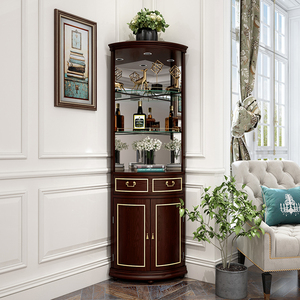 翡皇 美式轻奢实木角柜 墙角转角玻璃酒柜 客厅三角拐角储物边柜