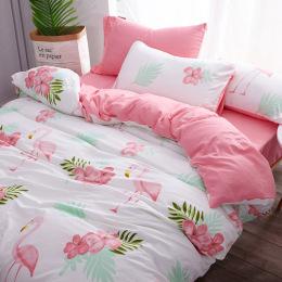 ins裸睡网红水洗棉四件套床单被套1.8m床上用品单人床宿舍三件套