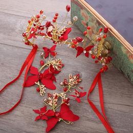 新款2017甜美红色新娘头饰发箍发夹韩式结婚发饰皇冠礼服配饰品