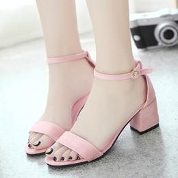 外贸爆款夏季磨砂一字扣带粗跟凉鞋女露趾高跟鞋大码412345-46