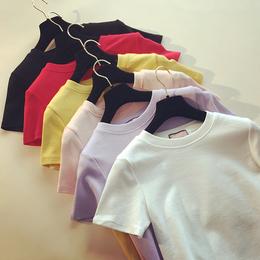 2018春季新款韩范修身纯色短袖T恤女夏装白体恤磨毛打底t恤衫上衣