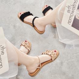 凉鞋女夏平底2018新款百搭韩版学生简约平跟仙女的鞋复古chic凉鞋