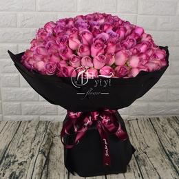 紫玫瑰花同城鲜花速递女友北京济南深圳广州上海西安花店生日送花