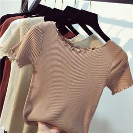 2018女装春夏季新款毛线衣上衣修身短袖打底衫套头紧身针织衫薄款