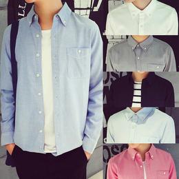 春秋韩版男长袖白衬衣青少年纯色打底衬衫休闲外套短袖衣服商务潮