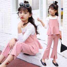 童装女童春装2018新款潮套装女洋气韩版时尚休闲中大童纯棉三件套