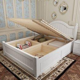 实木床现代简约高箱储物床1.8米双人1.5床主卧欧式田园家具公主床