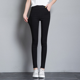 打底裤外穿女春秋薄款2018新款黑色裤子高腰九分小脚铅笔紧身长裤