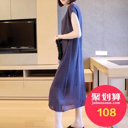 韩版宽松冷淡风裙子女夏天中长款短袖极简针织连衣裙女夏2018新款