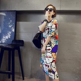 韩国春夏天女装宽松大码原宿bf风印花超长款短袖T恤连衣裙女过膝