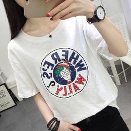 2018夏季女士短袖T恤女 新款韩版圆领修身学生潮流上衣服女装