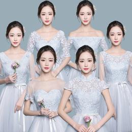 伴娘礼服女2018新款灰色韩版闺蜜姐妹裙短款伴娘团显瘦伴娘服夏季