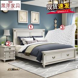 简约美式床实木1.5米双人床白色1.8米韩式田园床婚床公主床家具3