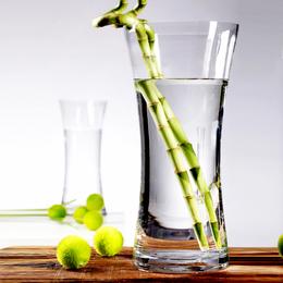 特大号花瓶富贵竹玻璃透明大口径40cm高摆件客厅插花水培竹子大号