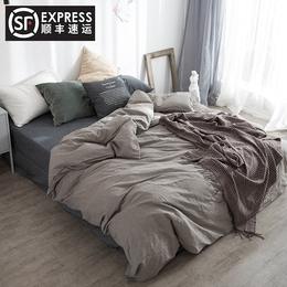 水洗棉四件套无印全棉纯色混搭北欧天竺棉简约床笠床单款纯棉被套