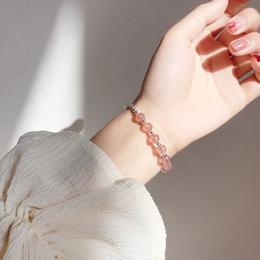 小麋人清新草莓色转运珠水晶S925纯银手链刻花手镯甜美饰品礼物女