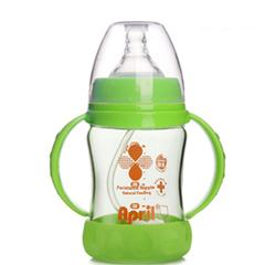 爱普丽 奶瓶 宽口 奶瓶玻璃 带吸管 手柄 婴儿奶瓶 新生母婴用品