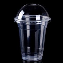 普奇诺 加厚一次性塑料杯 果汁饮料杯360ML 100套含盖