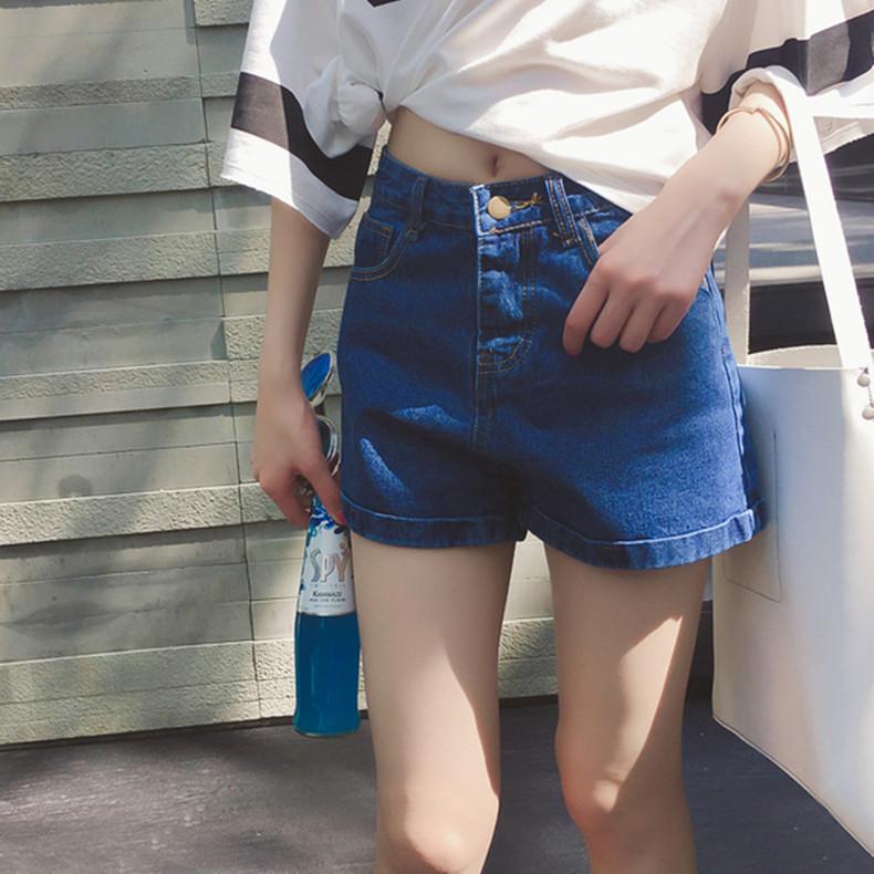 梦梦家2016夏季新款韩国潮学生百搭高腰修身显瘦翻边牛仔短裤女