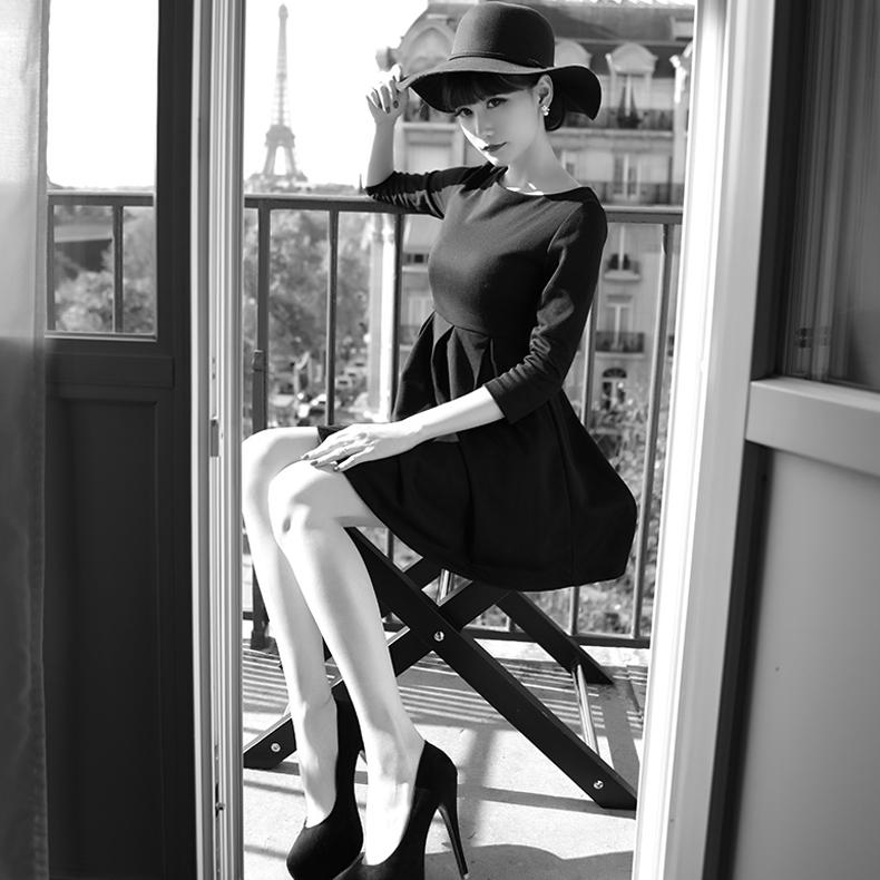JUPITER陈小颖法式新优雅法国巴黎赫本名媛风百搭小黑裙连衣裙女