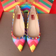 新款平底鞋尖头鞋彩色铆钉鞋女士单鞋欧美彩虹鞋浅口平跟真皮鞋子