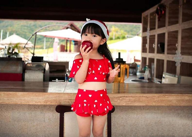 小桃泳衣 女 2015新款韩版儿童可爱荷叶边分体裙式女童游泳衣