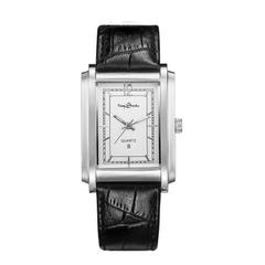 时间故事促销品牌刀刮无痕刻字超薄方形日历真皮男士防水手表