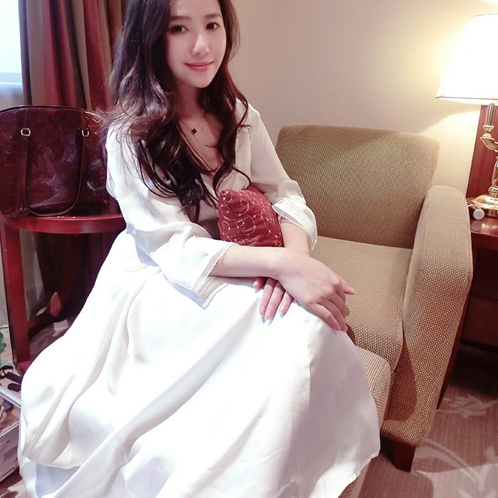 家居服高档丝质中袖真丝睡衣高端定制薄款睡裙女装连衣裙长裙